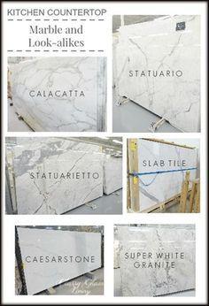 Kitchen countertops--YES! Granite that looks like Carrera marble!