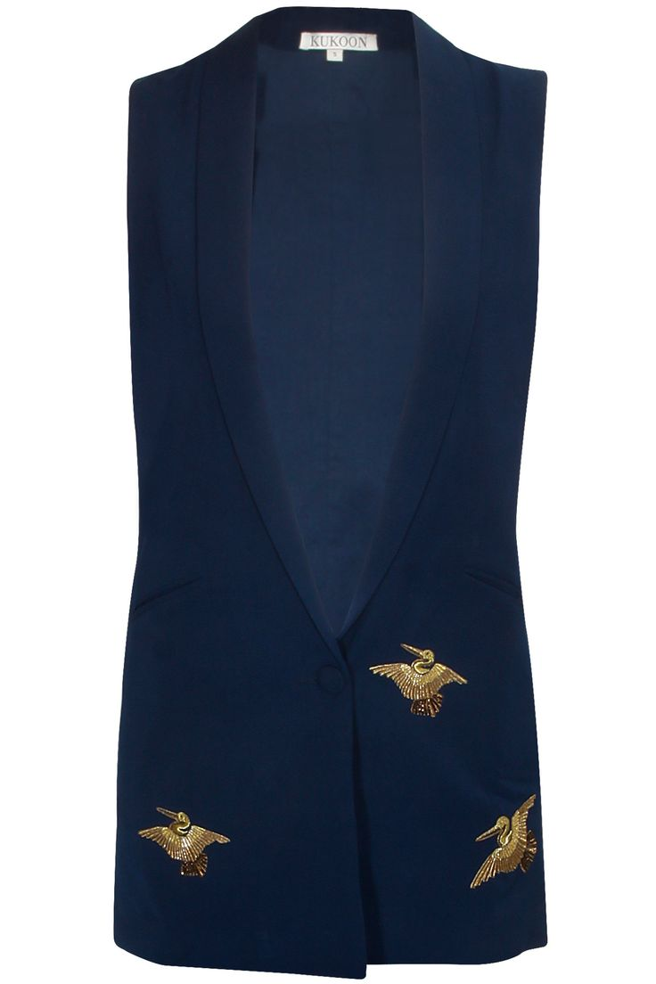 Navy embroidered bird motifs waistcoat available only at Pernia's Pop-Up Shop.