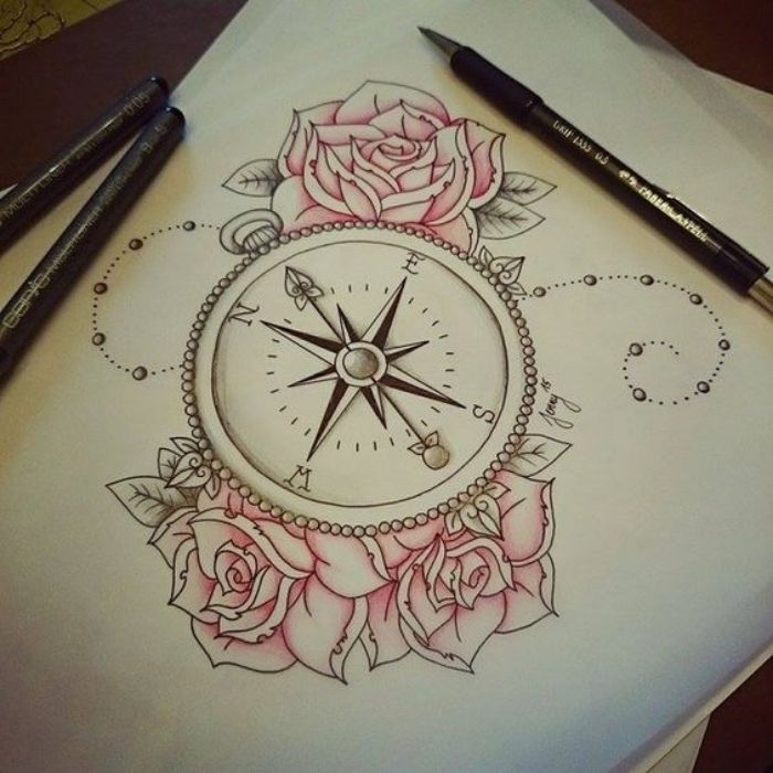 sheet paper and three beautiful pink roses and an idea for a compass tatto … # tattoos # all
