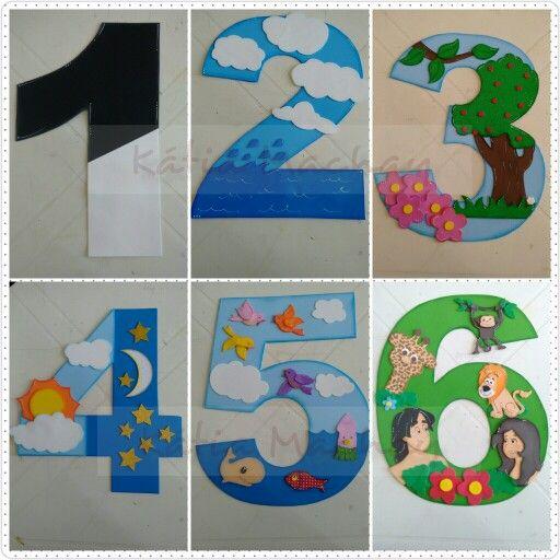 Historia da criação_números 1 ao 6_dia Sob consulta Feito sob encomenda 15 dias úteis para produção