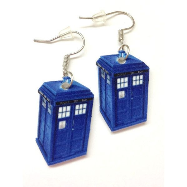 Dr. Who Tardis Earrings ($5.50) found on Polyvore