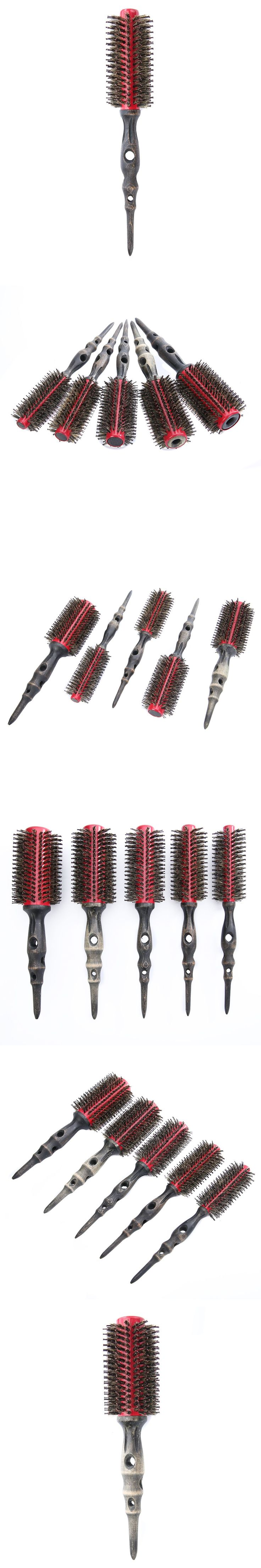 Mayitr 5pcs/Set Round Bristle Comb Curly Hair Round Bristles hair Brush Hairdressing Tool Wood Handle