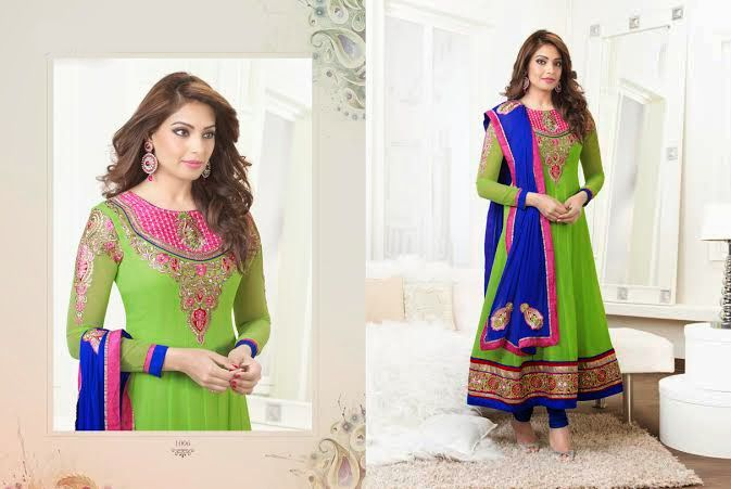 Beautiful Parrot Green Georgette anarkali With heavy work of embroidery en-crafted On the top, Bottom and on sleeves as well with blue Border. Blue colored Shantoon Bottom and Blue Chiffon Duppatta with fine work of embroidery and pink border included.