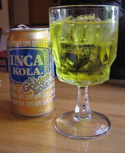 Inca Kola - yellow fluorescent drink that tastes like liquid bubble gum - Peru