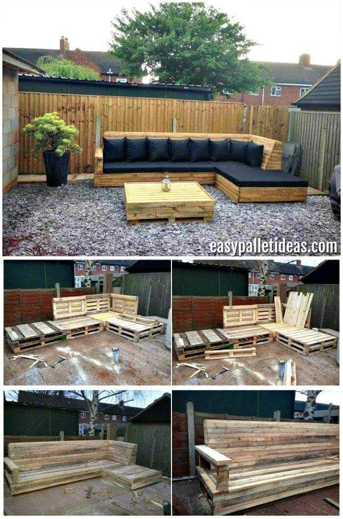 Tutorial: Paletten-L-förmiges Sofa für Terrasse