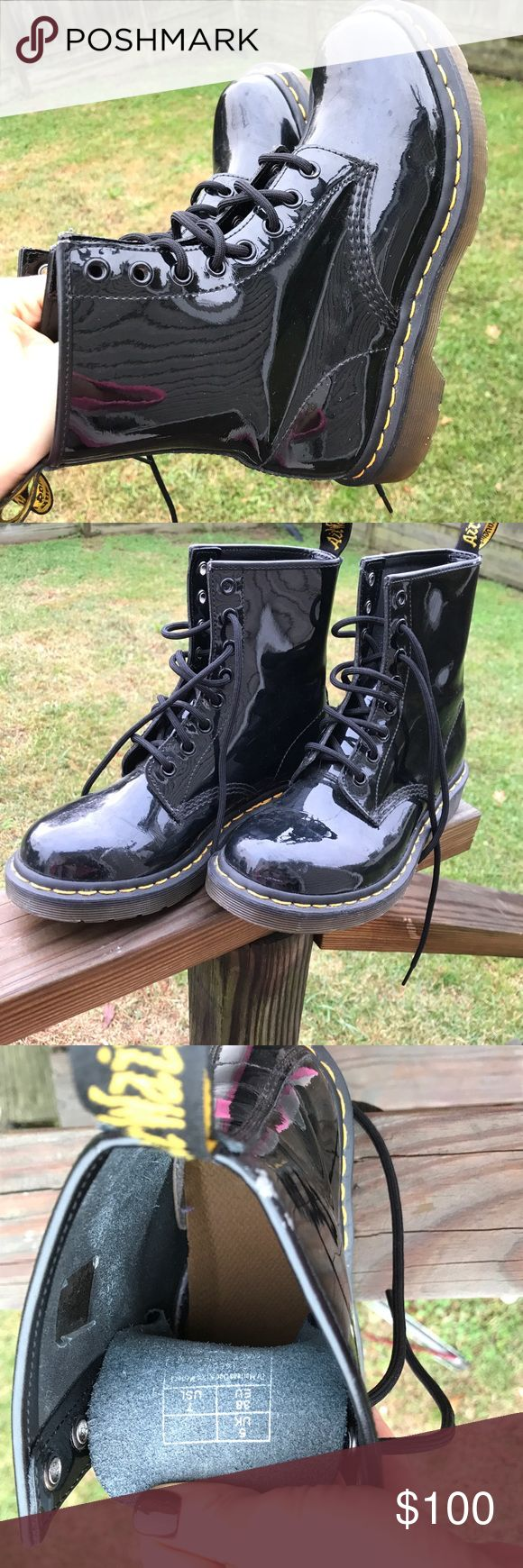Dr. Martens The Original Dr. Martens size 7 in black! Never worn before!   Premium leather Patent finish Lace-up fastening Back tab Round toe Air-cushioned sole Avoid contact with liquids 100% Real Leather Upper Dr. Martens Shoes Combat & Moto Boots