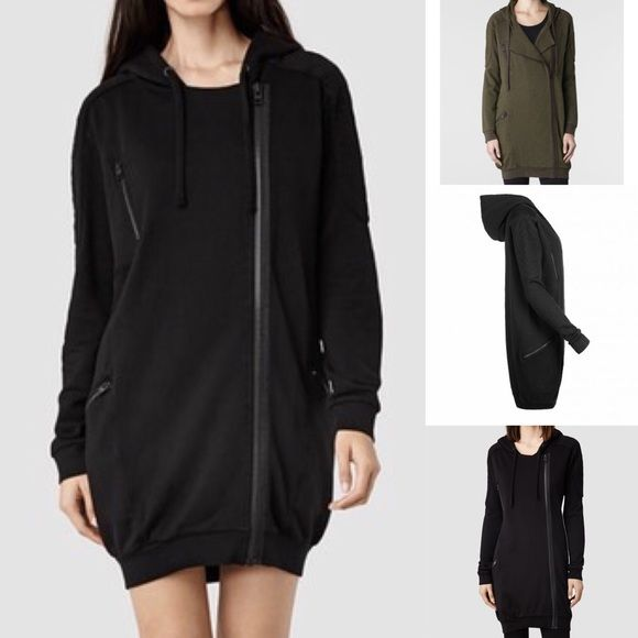 [All Saints] Black Ridley Hoody This oversized sweatshirt is an awesome layering piece during the fall and winter. Great over leggings, skinny denim, tights, or bare legs! Actual color is black (the olive green is just to show details). All Saints Tops Sweatshirts & Hoodies