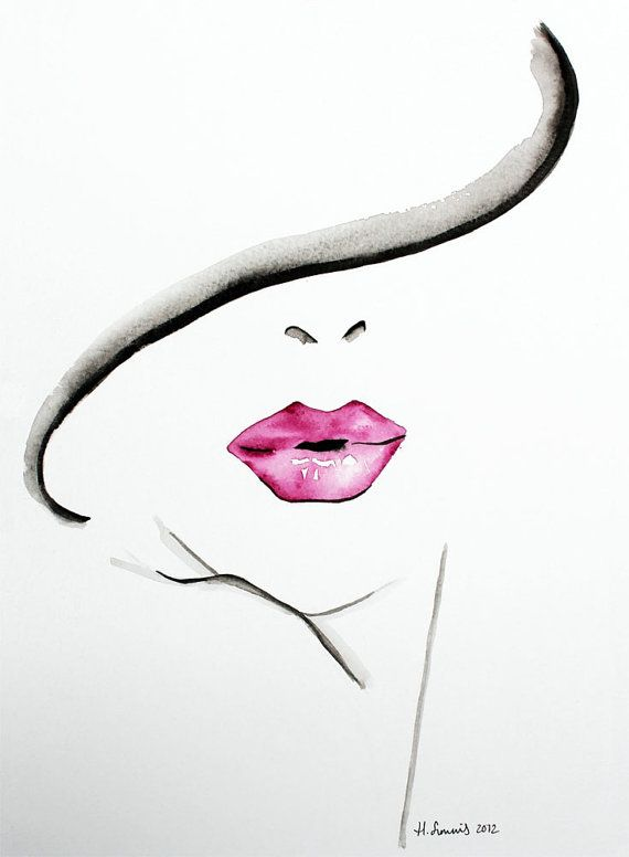 Original Fashion and Beauty Illustration of womans lips by Helen Simms, simple…