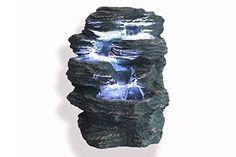 """Springbrunnen """"Niagara"""" mit LED Beleuchtung IN-&OUTDOOR Zimmerbrunnen Gartenbrunnen Luftbefeuchter"""