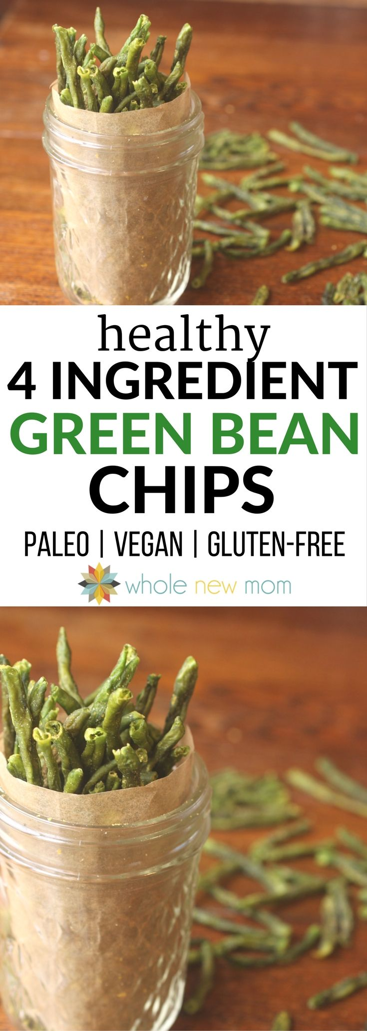 These Crispy Green Bean Chips a great healthy snack that's easy to make and a great way to get veggies into your diet!  via @wholenewmom