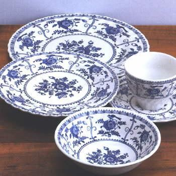 Johnson Brothers China, Indies Flow Blue.  I have started a Flow Blue collection, and this is my most prominent pattern in my collection. I have four teacups and saucers, a platter, milk  cream set, and a octagonal butter dish.
