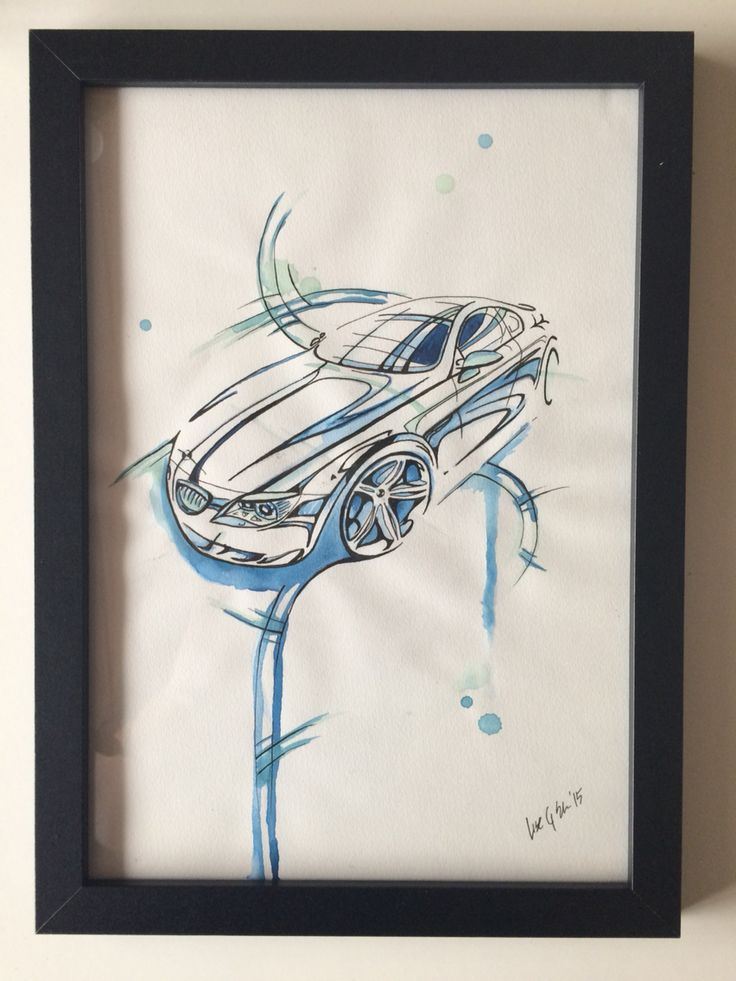 BMW - Ink and watercolor