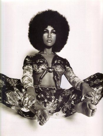 Marsha Hunt in Ossie Clark Ensemble, photographed by Harri Peccinotti, 1968