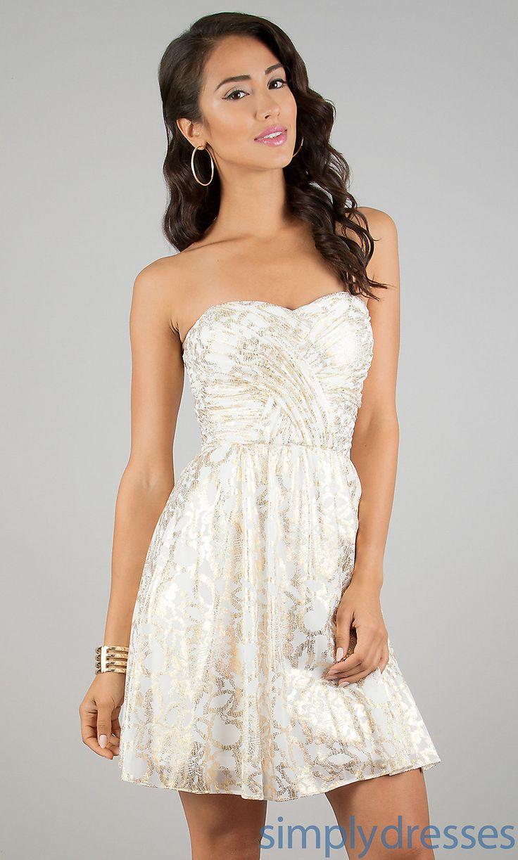 Short Strapless White Dress, Junior Party Dress - Simply Dresses