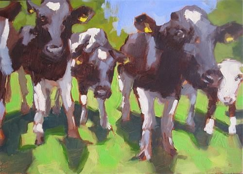 """Daily Paintworks - """"MOO"""" - Original Fine Art for Sale - © Helen Cooper"""