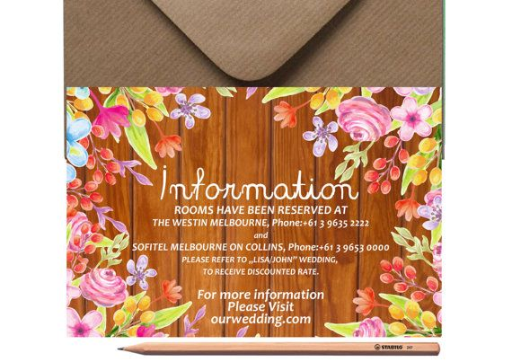 WEDDING INFORMATION CARD Printed or Digital by LoveArtsStationery