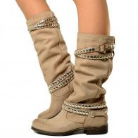 Stivali Donna Camperos con Borchie in Pelle Nabuk Vintage Taupe