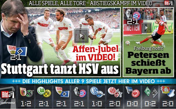 Long live the Huub Stevens' monkeys lol - VfB Stuttgart 1893 e.V. won 2:1 vs HSV! http://www.bild.de/bundesliga/1-liga/saison-2014-2015/spielbericht-vfb-stuttgart-gegen-hamburger-sv-am-33-Spieltag-36651198.bild.html http://www.bild.de/bundesliga/1-liga/saison-2014-2015/vfb-stuttgart-gegen-hamburger-sv-am-33-Spieltag-36651200.bild.html   http://www.bild.de/bundesliga/1-liga/home-1-bundesliga-fussball-news-31035072.bild.html