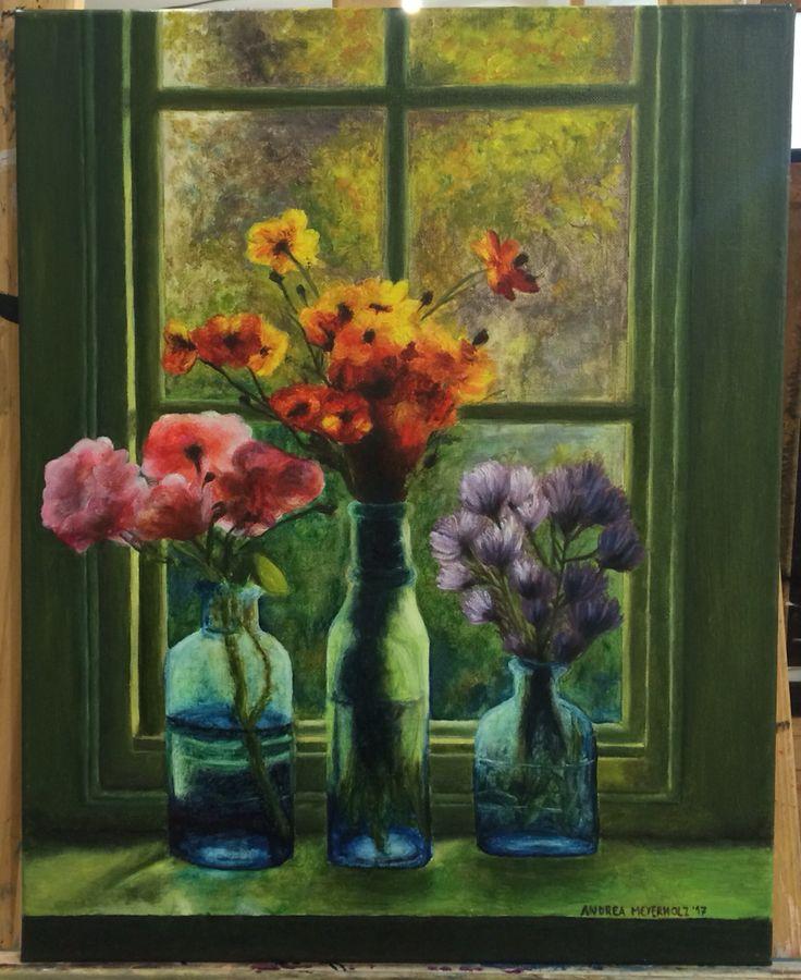Flowers on a window - Oil on canvas