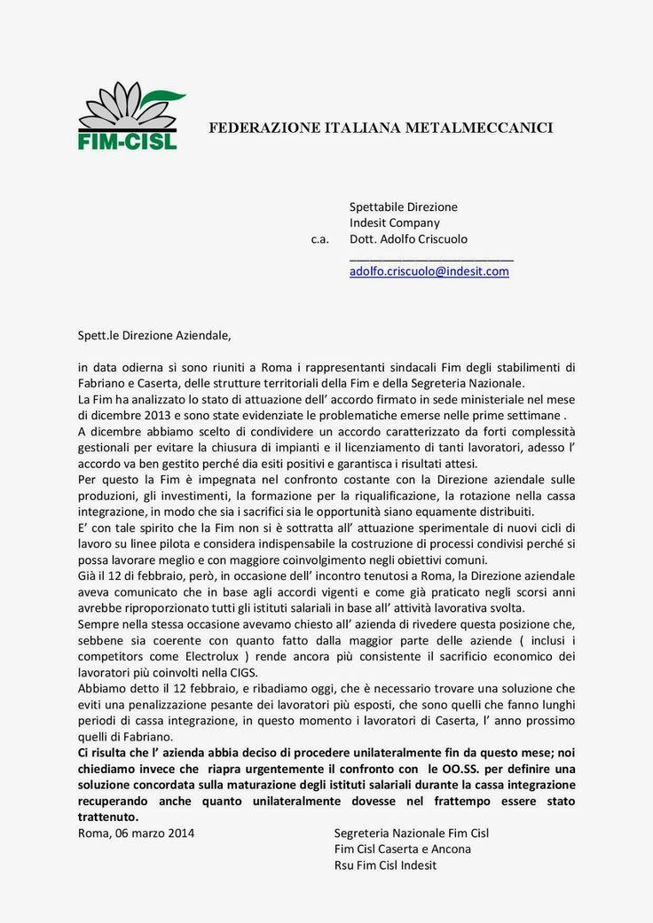 FIM CISL  INDESIT COMPANY MELANO: VERTENZA INDESIT: COMUNICATO SULLE RAGIONI DELLA F...