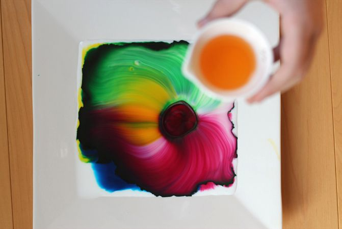 cool craft for kids: milk art science + art activity. Fun!