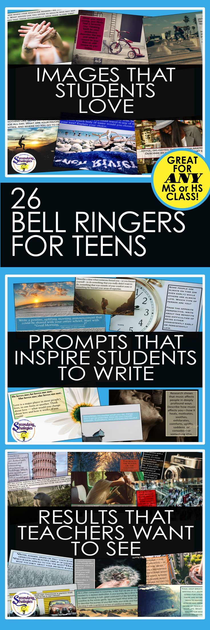 Bell Ringers with vivid photos and interesting prompts that will capture teens' attention and encourage them to write! Use in any middle or high school classroom to build community among students and increase writing skills.