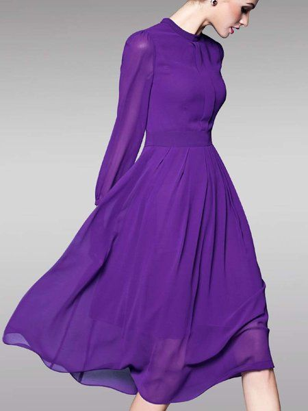 Purple Chiffon Long Sleeve Midi Dress
