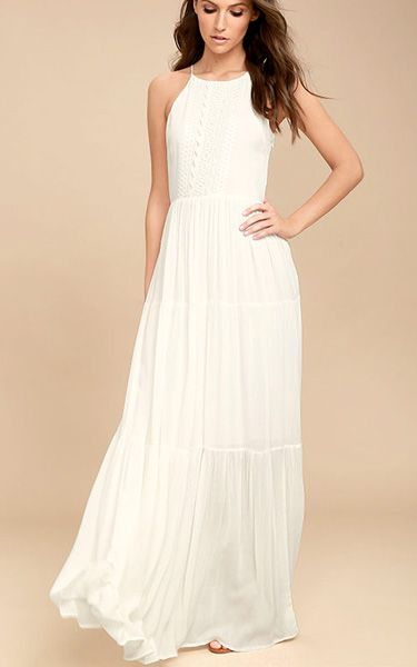 For Life White Embroidered Maxi Dress via @bestmaxidress