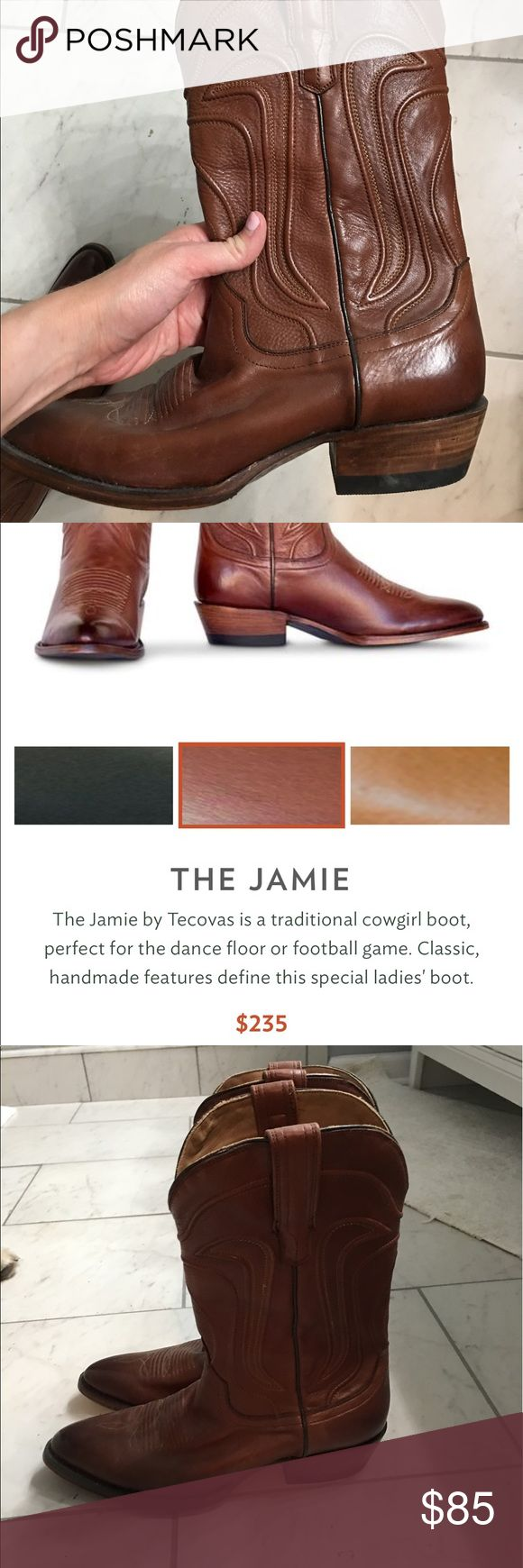 Tecovas Jamie Cow Boy Boot in Brown. Only worn a few times. In great condition. New Texas boot brand. Tecovas Shoes Heeled Boots