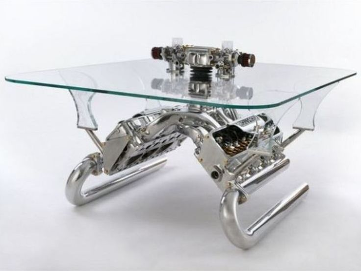 Attractive Interior, Carsofa, A Stunning Furniture For Car Lover: Awesome Twin Engine  Glass Table