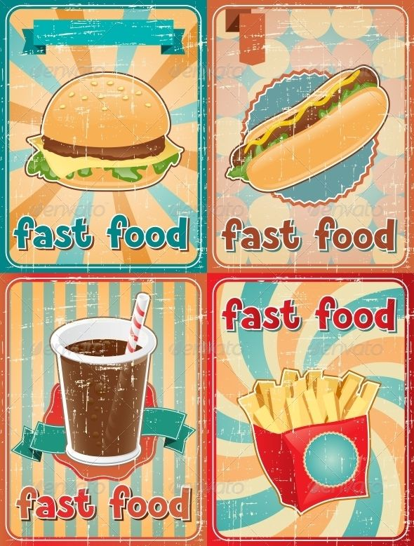 Retro Backgrounds with Fast Food #GraphicRiver Zip file contains fully editable EPS8 RGB vector file and high resolution pixels RGB Jpeg image. EPS File made using gradients. It does not contain transparency, blends, meshes. File does not contain foreign objects such as outside assets, brushes, symbols, fonts, images or other resources. Objects in the file are distributed by organized layers. Contains the author's non-editable text. Created: 20March13 GraphicsFilesIncluded: JPGI...