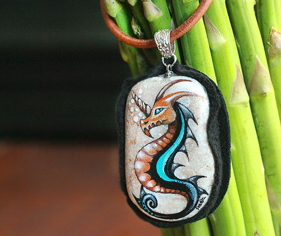 Stone necklace with a hand-painted dragondragon by SkadiaArt