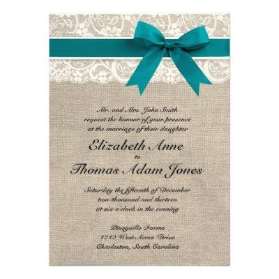 Rustic Lace Burlap Look Wedding Invitation Teal