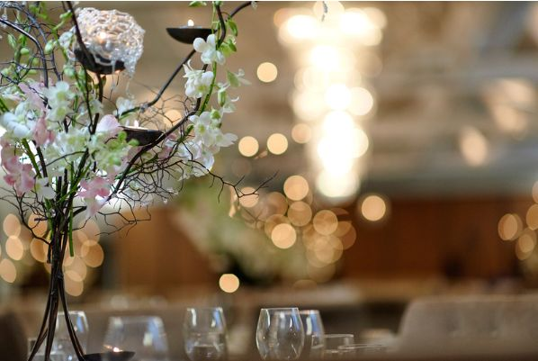 Sergeants Mess - Photography by David Henry Photography - Dress by Vera Wang - Reception Styling - Centrepiece by Design