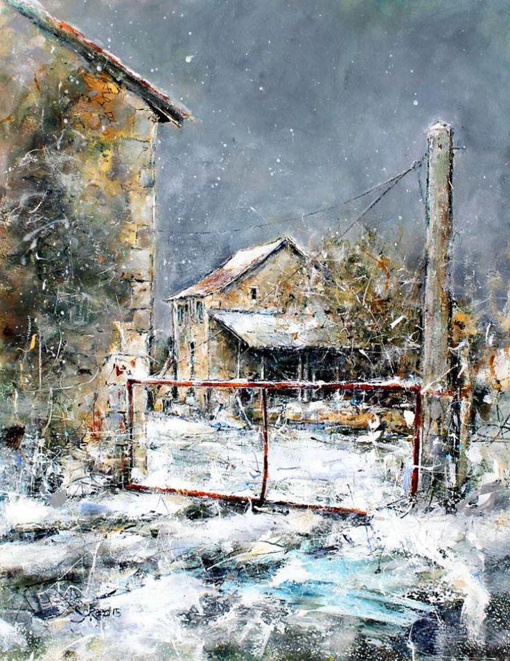 Villesuzanne's Farm, 30 x 39 cm acrylic on canvas by Steven Christian Reed