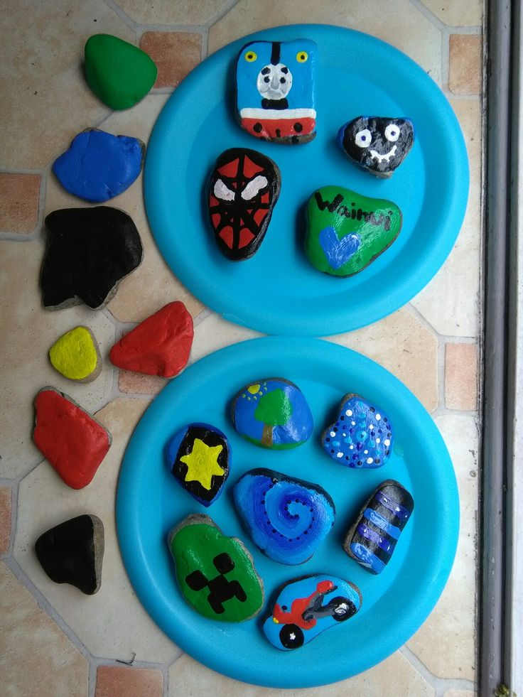 Rock painting, our community has started painting rocks and hiding them on bush walks and at parks for kids to find and rehide. These are my ones I made, painted and clear coated.