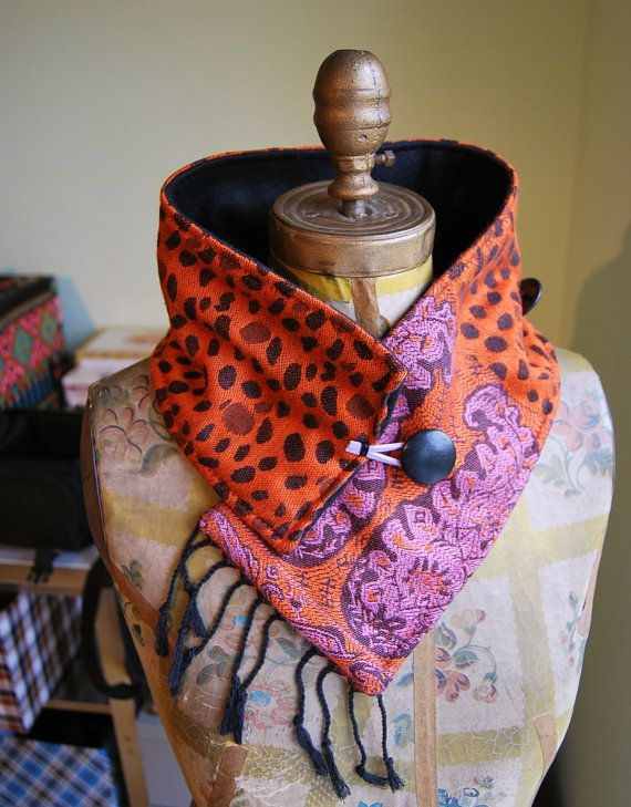 "Orange Cashmere Scarf Black Fleece Buttons Fringe Pakistani Fabric Neck Warmer -- ETSY Seller,,,,,,,,,,,,,,,, ""Florida Scarf"""