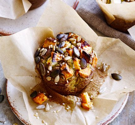 Use super-ripe avocadosin thissavoury bake, topped with crumbly cheese, sweet potato chunksand a scattering of mixed seeds