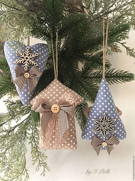 Купить Игрушки ёлочные текстильные двусторонние Новогодний декор - игрушки елочные, елочные игрушки