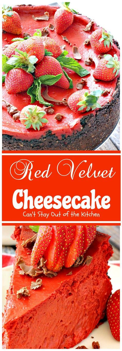 Red Velvet Cheesecake | Can't Stay Out of the Kitchen | this outrageous #dessert has an #Oreo, almond & chocolate chip crust and is filled with milk #chocolate & cream cheese for a velvety, creamy texture you'll love. Great for #Valentine'sDay. (Pinned 1.03k)