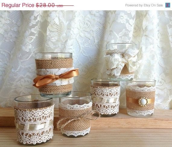 ON SALE 6 burlap and lace 10 hour tea candles, country chic wedding decoration, bridal shower decor or home decor, vintage style via Etsy