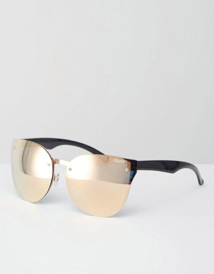 3da0d835cf18 Quay Australia Higher Love Frameless Rose Gold Mirror Cat Eye Sunglasses