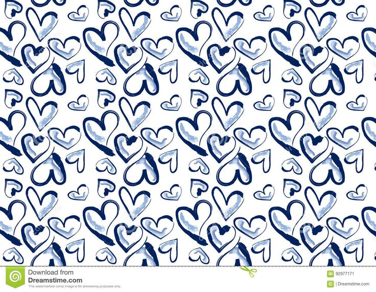 seamless heart background in denim blue. It's hand drawn..suitable for textile, bag, wrapping paper, greeting cards, packaging