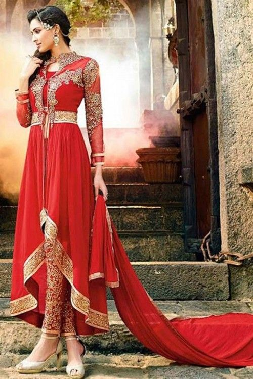 Red Georgette Anarkali churidar Suit With Dupatta