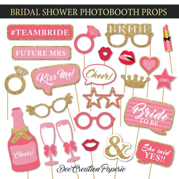 Printable Bridal Shower Photobooth Props  by DeeCreationPaperie