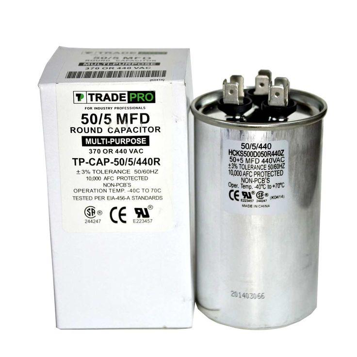 505 Mfd 370 Or 440 Vac Round Dual Run Capacitor Tp Cap 50