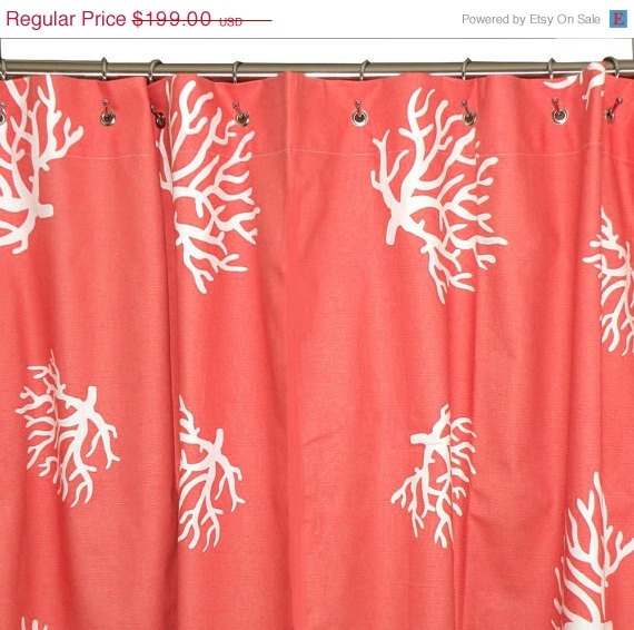 Easter sale - 40 percent Coral Shower Curtain Chevron 72x72 Coral and White Coral Reef Shower Curtain. via Etsy.