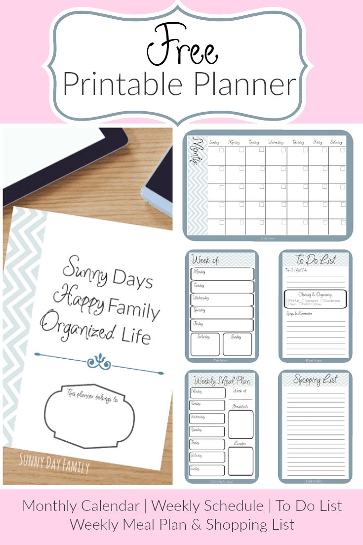 Get organized with free printable planner pages! Includes blank calendar pages, a weekly calendar, meal planning template, to do list, and more!