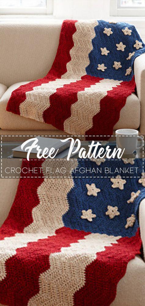 Crochet Flag Afghan Blanket – Free Pattern