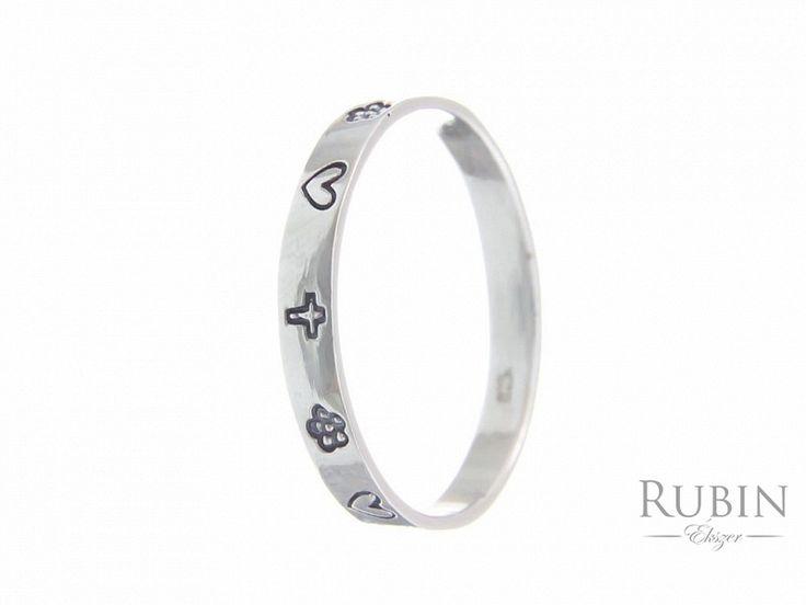Szív virág és keresz motívumos ezüst karikagyűrű